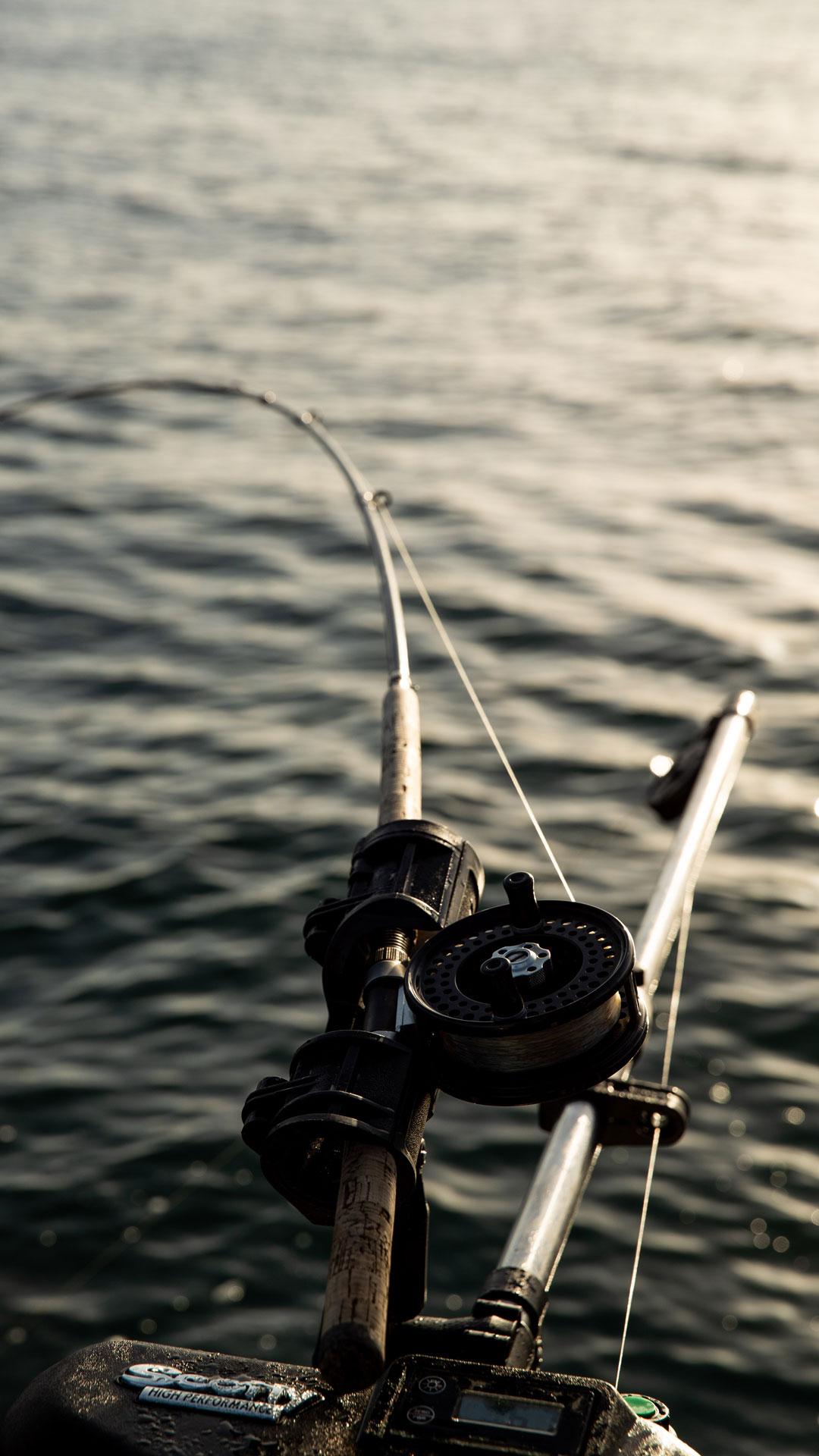 Fishing rod catching fish near Tofino, BC.